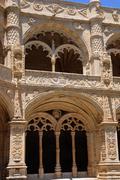 Portugal, cloister of Jeronimos monastery in Lisbon - stock photo