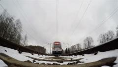 train winter bottom view - stock footage