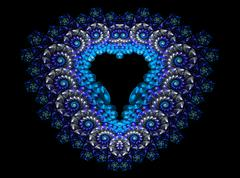 Symbolic diamond heart-shaped blue heart that symbolizes love. Fractal art Stock Illustration