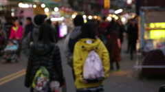 Vendors and shoppers at Lehua Night Market, defocused Stock Footage
