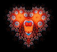Symbolic diamond heart-shaped red heart that symbolizes love. Fractal art Stock Illustration
