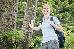 Happy Woman Hiking in the Alps Stock Photos