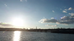 Time Lapse of Sunset under the Right Bank of Kiev and Road Bridge - Paton Bridge Stock Footage