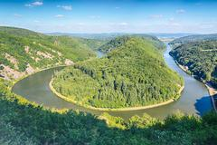 Hairpin Curve in the River Saar Stock Photos