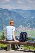 Woman Hiking and Alpine View - stock photo