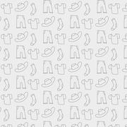Pattern of clothes icons, background from sock, t-shirt, hat and trousers in vet - stock illustration