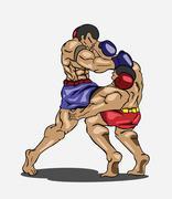 Muay thai. Martial art - stock illustration