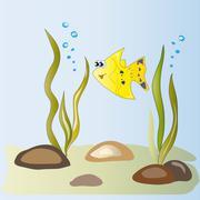 Yellow fish in the algae - stock illustration