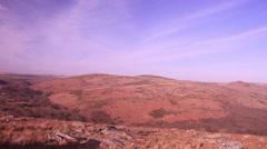 Dartmoor landscape wide panning shot 4 Stock Footage