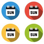 Collection of 4 isolated flat colorful buttons for Sunday (calendar icon) - stock illustration