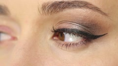 Finished eye makeup - stock footage