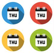 Collection of 4 isolated flat colorful buttons for Thursday (calendar icon) - stock illustration