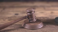 Law and justice concept, wooden gavel - stock footage