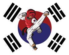 Taekwondo. Martial art - stock illustration
