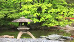 Japanese Garden with snow lantern Stock Footage