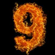 Fire number 9 - stock photo