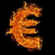 Fire euro sign Stock Photos