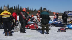 Canadian Snowmobile Racing Stock Footage