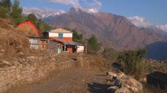 Dhaulagiri Range and road at Annapurna region in Nepal - stock footage