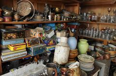 Old objects on a flea market Stock Photos