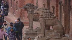 Statues at Patan Durbar Square at Kathmandu in Nepal Stock Footage