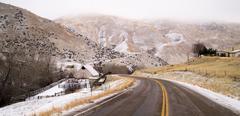 Fresh Snow Blankets Hillside Rural Country Scene Two Lane Road Stock Photos