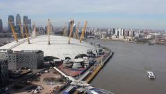 Aerial shot of O2 Arena, London Stock Footage