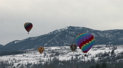 Hot Air Balloons, Balloon, Mountains, Snow, Winter, 4K Stock Footage