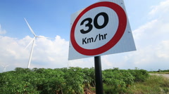 30 km/hr traffic sign,generating electricity background, Dolly slide shot. Stock Footage