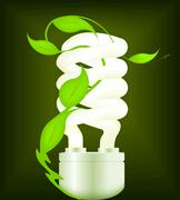 Eco design with energy-saving bulb. Stock Illustration