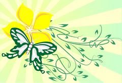 Decor with butterfly Stock Illustration