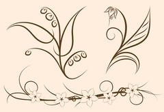 Set of three floral decors - stock illustration