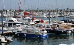Gironde, sailing ships  in the port of Arcachon Stock Photos