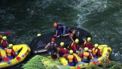 Raft capsize, tourists white water waterfall, Rotorua, New Zealand Stock Footage