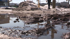 Puddles and slush in spring melt Stock Footage
