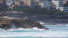 Bronte Beach Waves Splashing Stock Footage