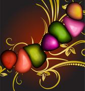 Abstract background with gold branch and colored gems Stock Illustration