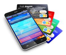 Mobile banking and finance concept - stock photo