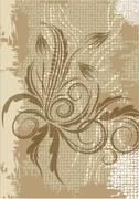 Decorative branch on aged background. - stock illustration