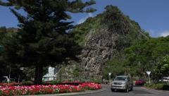 Street scene and rock, Whakatane, North Island, New Zealand Stock Footage
