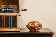 Antique Phonograph with Handmade Decorative Bowl Stock Photos