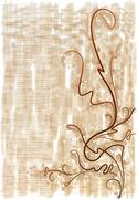 Stock Illustration of Decorative branch on grunge background