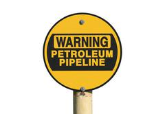 Warning Petroleum Pipeline Sign Isolated - stock photo