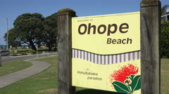 Ohope Beach road sign, Whakatane, North Island, New Zealand Stock Footage