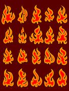 Collection of vector fires. - stock illustration