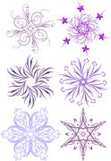 Collection of floral snowflakes. A lot of similar images in my gallery. Stock Illustration