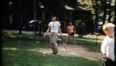 1829 - baseball game at the park with family & friends - vintage film home movie Stock Footage