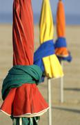 Stock Photo of parasol on Deauville beach in Normandie