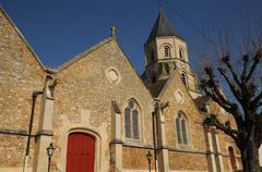 France, church of Saint Martin la Garenne in Les Yvelines - stock photo