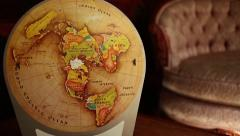 DOLLY MOVE INTO VINTAGE RETRO MAP: Dolly out in semi-arc Arkistovideo